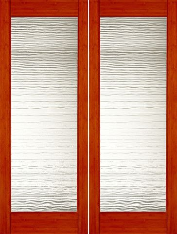 WDMA 48x96 Door (4ft by 8ft) Interior Swing Bamboo BM-35 Contemporary Small Wave Glass Double Door 1