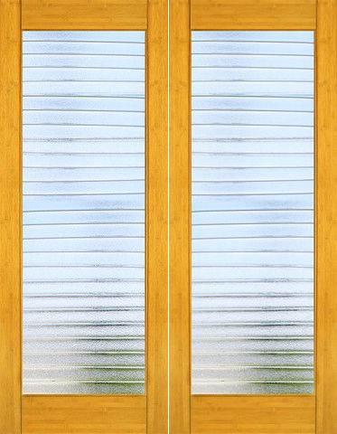 WDMA 48x96 Door (4ft by 8ft) Interior Swing Bamboo BM-34 Contemporary Deco Bars Glass Double Door 1