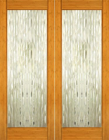 WDMA 48x96 Door (4ft by 8ft) Interior Swing Bamboo BM-33 Contemporary Waterfall Glass Double Door 1