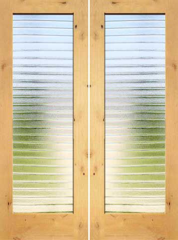 WDMA 48x96 Door (4ft by 8ft) Interior Barn Knotty Alder Modern Double Door 1-Lite FG-7 Deco Bars Glass 1