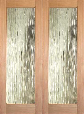 WDMA 48x96 Door (4ft by 8ft) Interior Swing Tropical Hardwood Conemporary Glass Double Door FG-3 Waterfall 1