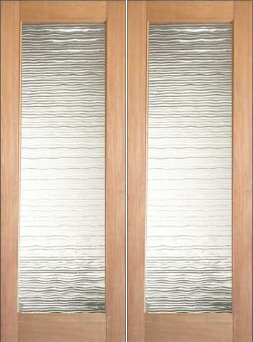 WDMA 48x96 Door (4ft by 8ft) Interior Swing Tropical Hardwood Conemporary Double Door FG-2 Small Wave Glass 1