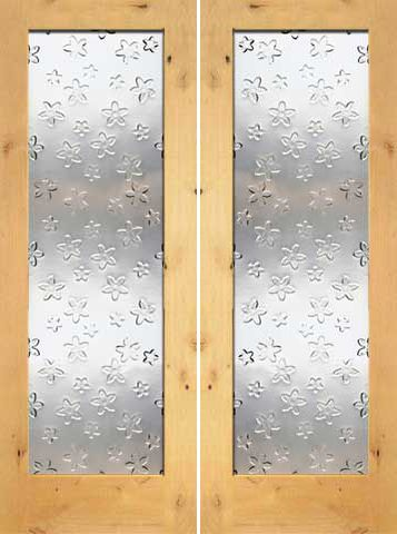 WDMA 48x96 Door (4ft by 8ft) Interior Barn Knotty Alder Double Door 1-Lite FG-8 Blooming Glass 1