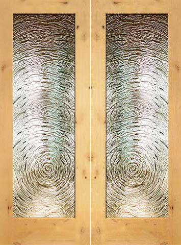 WDMA 48x96 Door (4ft by 8ft) Interior Barn Knotty Alder Full Lite Double Door FG-9 Swirl Glass 1