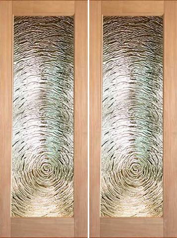 WDMA 48x96 Door (4ft by 8ft) Interior Barn Tropical Hardwood Full Lite Double Door FG-9 Swirl Glass 1