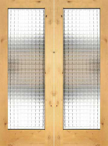 WDMA 48x96 Door (4ft by 8ft) Interior Swing Knotty Alder Double Door 1-Lite FG-10 Weaving Glass 1