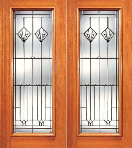 WDMA 48x96 Door (4ft by 8ft) Exterior Mahogany Full Lite Contemporary Art Deco Glass Double Door 1