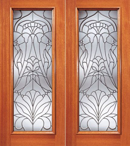 WDMA 48x96 Door (4ft by 8ft) Exterior Mahogany Floral Beveled Glass Entry Double Door Triple Glazed Glass Option 1