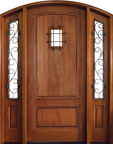WDMA 50x80 Door (4ft2in by 6ft8in) Exterior Mahogany Trinity 2 Panel Impact Single Door/2 Iron Sidelight Arch Top w Speakeasy 1