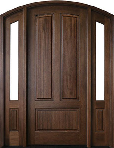 WDMA 50x80 Door (4ft2in by 6ft8in) Exterior Mahogany Trinity 3 Panel Impact Single Door/2Sidelight Arch Top 1-3/4 Thick 1