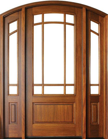 WDMA 50x80 Door (4ft2in by 6ft8in) Patio Mahogany Trinity SDL 9 Lite Impact Single Door/2Sidelight Arch Top 1-3/4 Thick 1