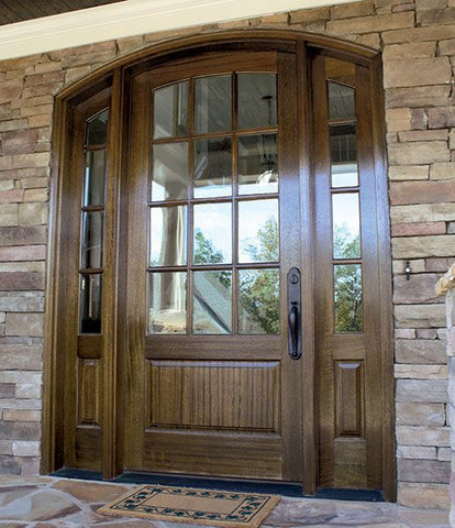WDMA 50x80 Door (4ft2in by 6ft8in) French Mahogany Trinity SDL 12 Lite Impact Single Door/2Sidelight Arch Top 1-3/4 Thick 3