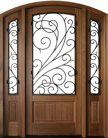WDMA 50x80 Door (4ft2in by 6ft8in) Exterior Mahogany Trinity Impact Single Door/2Sidelight Arch Top w Iron #2 1-3/4 Thick 1