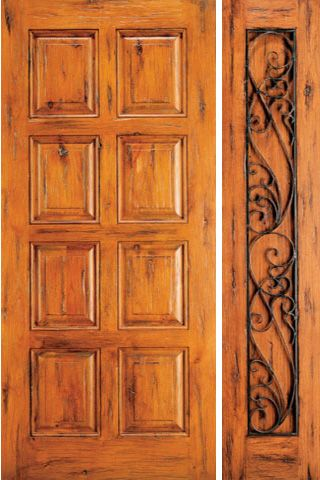 WDMA 50x80 Door (4ft2in by 6ft8in) Exterior Knotty Alder Door with One Sidelight 8-Panel 1