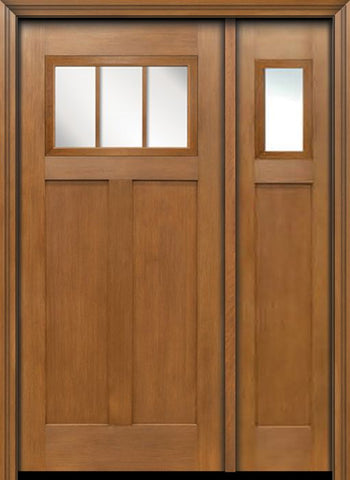 WDMA 50x80 Door (4ft2in by 6ft8in) Exterior Fir Craftsman Top 3 Lite Single Entry Door Sidelight 1