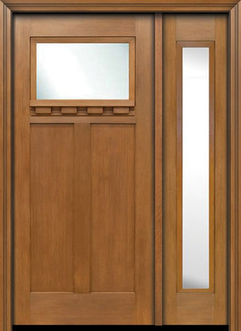 WDMA 50x80 Door (4ft2in by 6ft8in) Exterior Fir Craftsman Top Lite Single Entry Door Sidelight 1