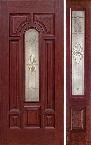 WDMA 50x80 Door (4ft2in by 6ft8in) Exterior Cherry Center Arch Lite Single Entry Door Sidelight HM Glass 1
