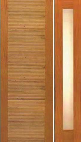 WDMA 50x80 Door (4ft2in by 6ft8in) Exterior Tropical Hardwood Single Door One Sidelight Contemporary Horizontal Groove Design 1