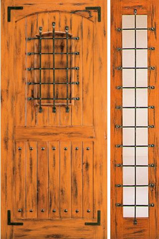 WDMA 50x80 Door (4ft2in by 6ft8in) Exterior Knotty Alder Door with One Sidelight Front Speakeasy 1