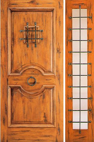 WDMA 50x80 Door (4ft2in by 6ft8in) Exterior Knotty Alder Door with One Sidelight Speakeasy 1