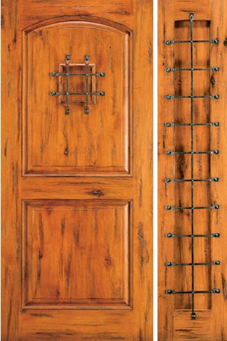 WDMA 50x80 Door (4ft2in by 6ft8in) Exterior Knotty Alder Entry Prehung Door with One Sidelight Speakeasy 1