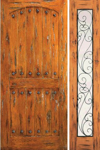 WDMA 50x80 Door (4ft2in by 6ft8in) Exterior Knotty Alder Door with One Sidelight Prehung Clavos 1