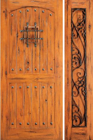 WDMA 50x80 Door (4ft2in by 6ft8in) Exterior Knotty Alder External Door with One Sidelight Speakeasy 1