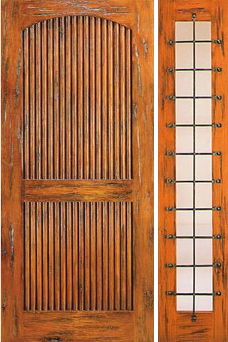 WDMA 50x80 Door (4ft2in by 6ft8in) Exterior Knotty Alder Door with One Sidelight Prehung 2 Panel 1