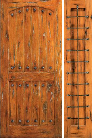 WDMA 50x80 Door (4ft2in by 6ft8in) Exterior Knotty Alder Prehung Door with One Sidelight Clavos 1