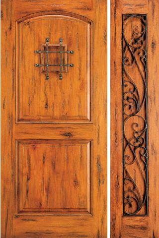 WDMA 50x80 Door (4ft2in by 6ft8in) Exterior Knotty Alder Entry Door with One Sidelight Speakeasy 1