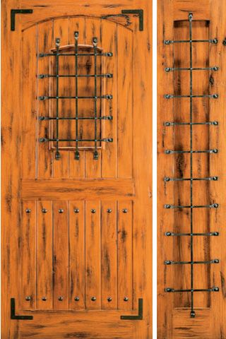 WDMA 50x80 Door (4ft2in by 6ft8in) Exterior Knotty Alder Front Door with One Sidelight Speakeasy 1
