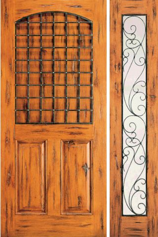WDMA 50x80 Door (4ft2in by 6ft8in) Exterior Knotty Alder Door with One Sidelight 3-Panel 1