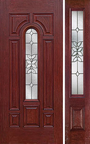 WDMA 50x80 Door (4ft2in by 6ft8in) Exterior Cherry Center Arch Lite Single Entry Door Sidelight CD Glass 1