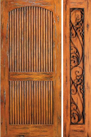 WDMA 50x80 Door (4ft2in by 6ft8in) Exterior Knotty Alder Prehung Door with One Sidelight 2 Panel 1