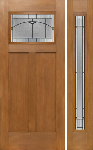 WDMA 50x80 Door (4ft2in by 6ft8in) Exterior Fir Craftsman Top Lite Single Entry Door Sidelight TP Glass 1