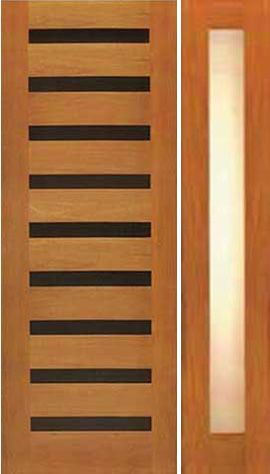 WDMA 50x80 Door (4ft2in by 6ft8in) Exterior Tropical Hardwood Modern Single Door One Sidelight Horizontal Heavy Iron Inserts 1