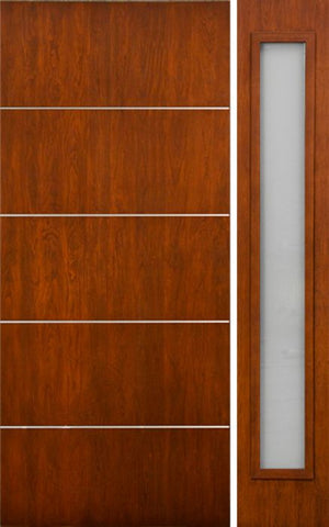 WDMA 50x80 Door (4ft2in by 6ft8in) Exterior Cherry Contemporary Lines Horizontal Aluminum Bar Single Entry Door Sidelight 1