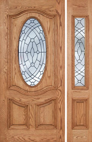 WDMA 50x80 Door (4ft2in by 6ft8in) Exterior Oak Dally Single Door/1side w/ EE Glass - 6ft8in Tall 1