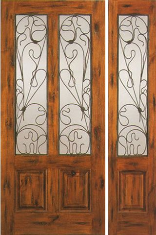 WDMA 50x80 Door (4ft2in by 6ft8in) Exterior Knotty Alder Door with One Sidelight Entry Twin Lite 1