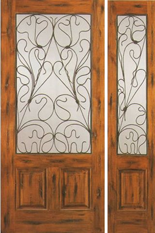 WDMA 50x80 Door (4ft2in by 6ft8in) Exterior Knotty Alder Entry Door with One Sidelight 2/3 Lite 2 Panel 1