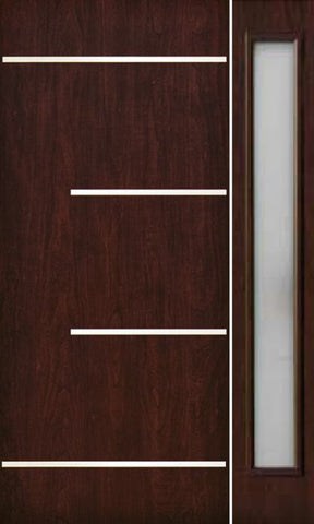 WDMA 50x80 Door (4ft2in by 6ft8in) Exterior Cherry Contemporary Stainless Steel Bars Single Fiberglass Entry Door Sidelight FC673SS 1