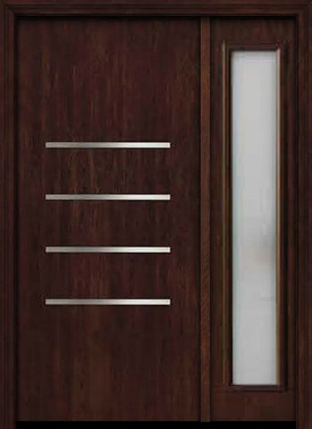 WDMA 50x80 Door (4ft2in by 6ft8in) Exterior Cherry Contemporary Stainless Steel Bars Single Fiberglass Entry Door Sidelight FC671SS 1