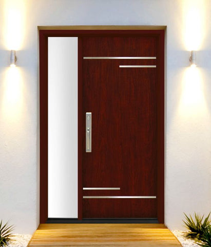 WDMA 50x80 Door (4ft2in by 6ft8in) Exterior Cherry Contemporary Stainless Steel Bars Single Fiberglass Entry Door Sidelight FC674SS 2