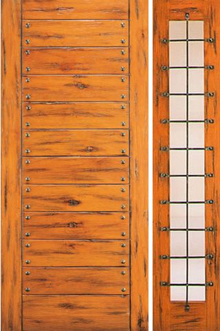 WDMA 50x80 Door (4ft2in by 6ft8in) Exterior Knotty Alder Door with One Sidelight Flush 1