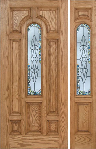 WDMA 50x80 Door (4ft2in by 6ft8in) Exterior Oak Carrick Single Door/1side w/ Tiffany Glass - 6ft8in Tall 1