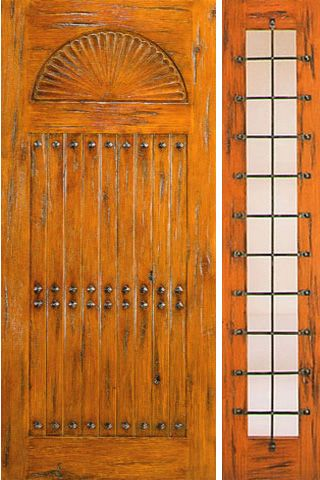 WDMA 50x80 Door (4ft2in by 6ft8in) Exterior Knotty Alder Door with One Sidelight Prehung Carved 1