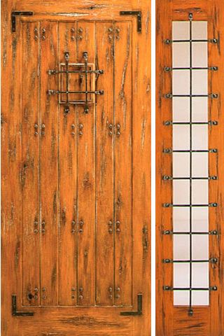 WDMA 50x80 Door (4ft2in by 6ft8in) Exterior Knotty Alder Door with One Sidelight Prehung Speakeasy 1