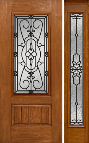 WDMA 50x80 Door (4ft2in by 6ft8in) Exterior Cherry Plank Panel 3/4 Lite Single Entry Door Sidelight Full Lite w/ MD Glass 1