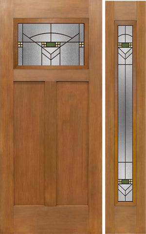 WDMA 50x80 Door (4ft2in by 6ft8in) Exterior Fir Craftsman Top Lite Single Entry Door Sidelight GR Glass 1