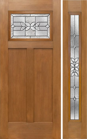 WDMA 50x80 Door (4ft2in by 6ft8in) Exterior Fir Craftsman Top Lite Single Entry Door Sidelight CD Glass 1